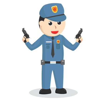 Police holding double gun illustration Ilustração