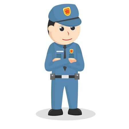 Police officer and property illustration