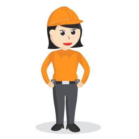 Female construction worker poses illustration