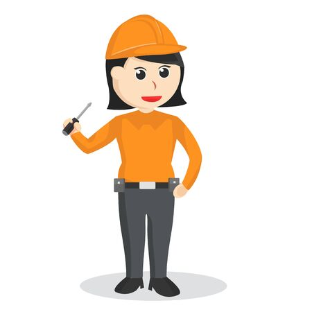Female construction worker with a screwdriver