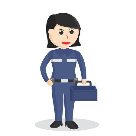 Female mechanic in emblem illustration