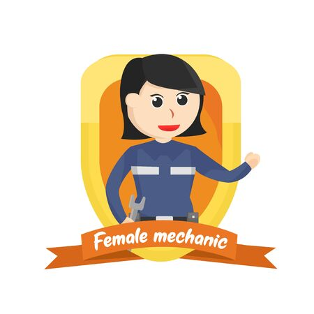 Female mechanic in emblem illustration