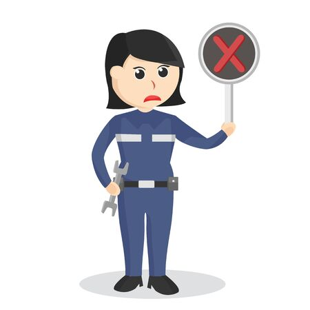 Female mechanic with crosswise sign indicate failed repair  イラスト・ベクター素材