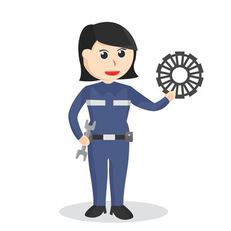 Female mechanic with wrench and gear illustration  イラスト・ベクター素材
