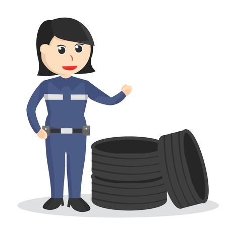 Female mechanic witha stack of tires  イラスト・ベクター素材