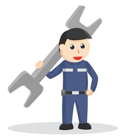Mechanic holding big wrench illustration