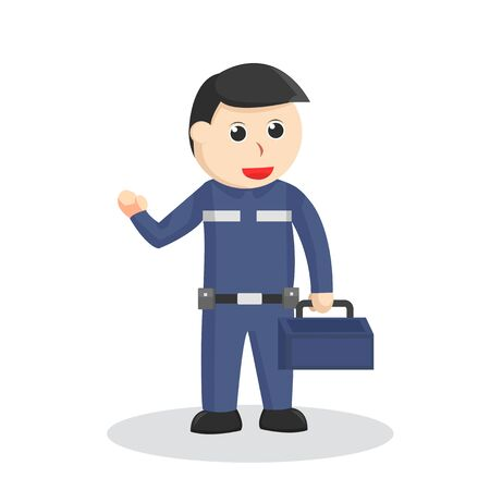 Mechanic holding tool box illustration