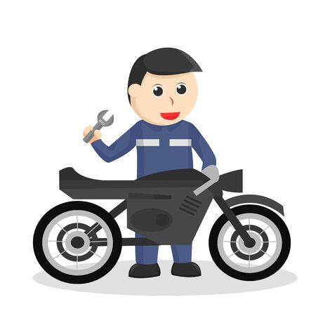 Mechanic repair the motor with a wrench  イラスト・ベクター素材