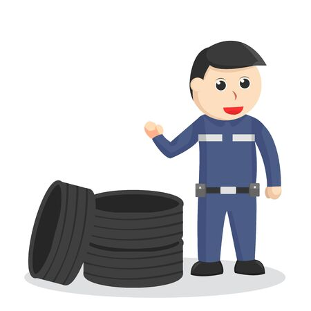 mechanic with a stack of tires