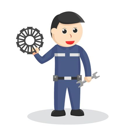 Mechanic with wrench and gear