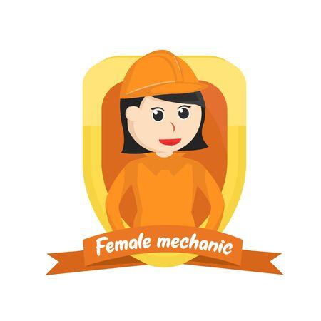 Female construction in emblem illustration Ilustrace
