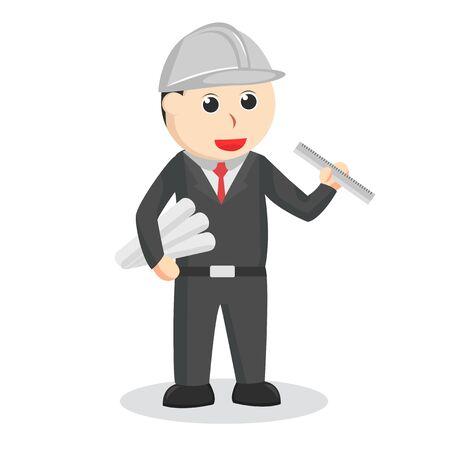 engineer with roll paper and ruler Ilustração Vetorial