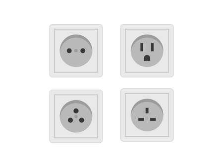 Socket icon set. Socket vector set illustration. Electricity socket set vector.