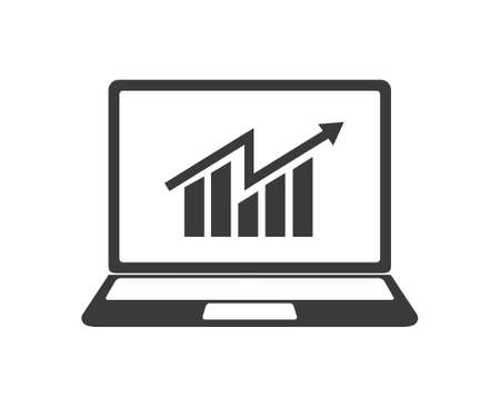 Growth stocks icon. growth stocks in computer vector illustration.  Business in monitor . Trade in monitor illustration. 向量圖像