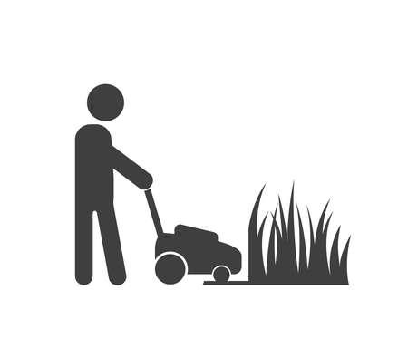 Lawnmower man icon. Lawnmower man with equipment vector illustration.