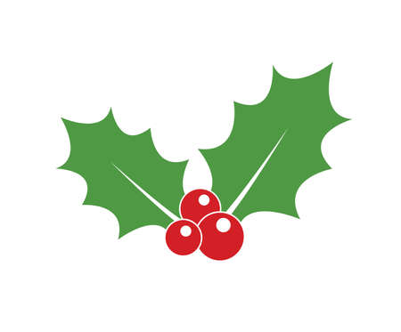 Holly berry icon. Christmas icon. Vector holly berry icon. Holly berry leaves illustration. Vettoriali