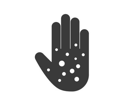 Hand rash icon. Damaged skin icon. eczema hand asking vector illustration. Stock Illustratie