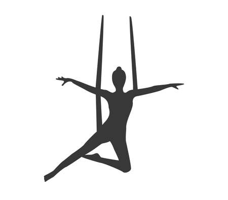 Aerial yoga vector illustration. Yoga icon. Fly yoga icon. Yoga pose icon.
