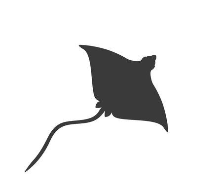 Stingray silhouette. Vector stingray. Stingray icon.