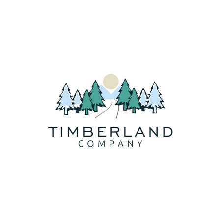 Vintage cedar, cypress, larch, spruce, pine, pinus, evergreen, coniferous, conifer, fir, hemlock trees logo design