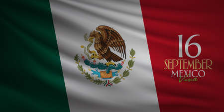 Mexican national holiday, Viva Mexico is celebrated on September 16. Vettoriali