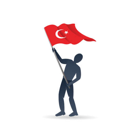 Vector illustration of a boy holding Turkish flag