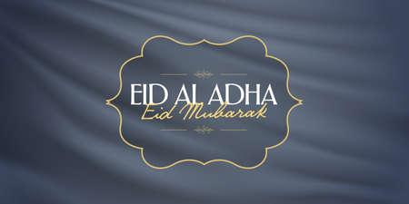 Eid Al Adha Creative line typograpghy. Feast of the Sacrifice Greeting Card. Vektorové ilustrace