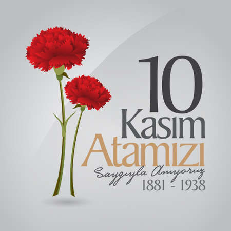 10 November, Death Day anniversary. Memorial day of Ataturk. Billboard Design. 矢量图像
