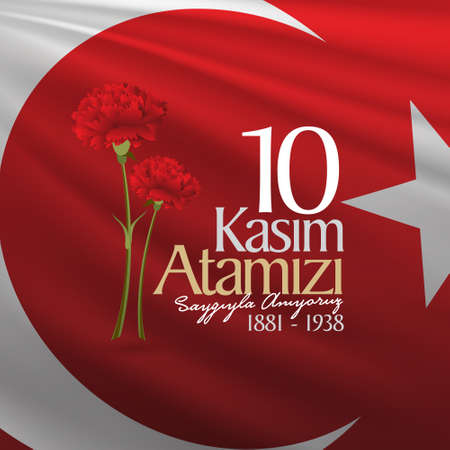 10 November, Death Day anniversary. Memorial day of Ataturk. Billboard Design. Illustration