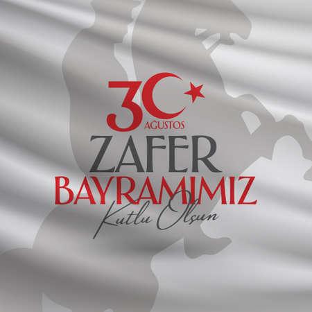 30 de agosto Día de la victoria Día de la victoria Turquía. Traducción: celebración de la victoria el 30 de agosto y el Día Nacional de Turquía. (Inglés: 30 de agosto Feliz Día de la Victoria) Plantilla de tarjeta de felicitación.
