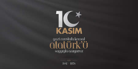 10 November, Death Day anniversary. Memorial day of Ataturk. Billboard Design. Ilustração