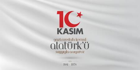 10 November, Death Day anniversary. Memorial day of Ataturk. Billboard Design. Иллюстрация