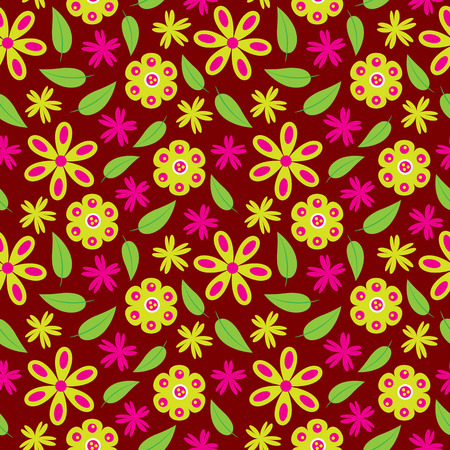 Flower seamless pattern with green and pink flowers vector on red background for wallpaper, fabric, and backdrop