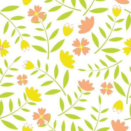 Modèle sans couture de fleurs jaunes et oranges sur la conception de vecteur de fond blanc pour fond de toile, fond et fond d'écran