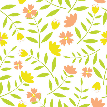 Yellow and oranges flowers seamless pattern on white background vector design for fabric clothes background, backdrop and wallpaper Ilustrace