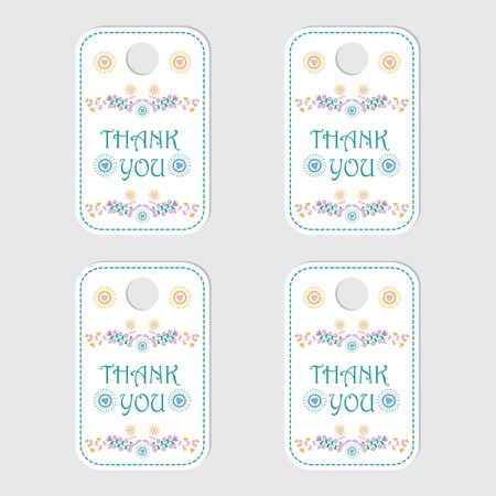 Thank you tag label vector design with cyan and pink flower for gift tag and sticker set Vectores