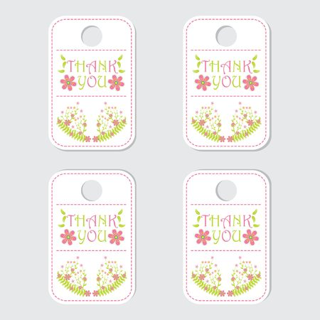 Thank tag label vector design with pink flower and leaves for gift tag and sticker set