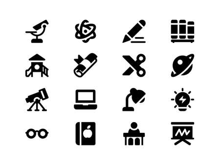 Icons For Web Mobile and Print, designed in the 32x32 pixel grid (scale 3x) with the outer 2 pixels Illustration