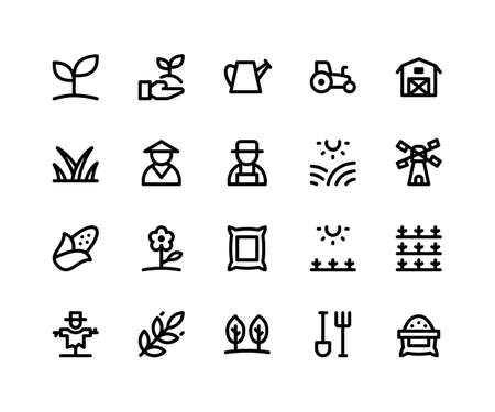 Simple Set of Agriculture Related Vector Line Icons. Contains such Icons as plant, farm, barn, sack, scarecrow and More. pixel perfect vector icons based on 32px grid. Editable Strokes Illustration
