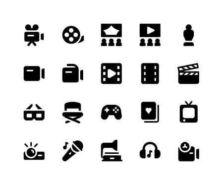 Simple Set of Entertainment Related Vector Glyph Icons. Contains such Icons as camera, movie, theatre, filmstrip, trophy and More. pixel perfect vector icons based on 32px grid. Well Organized
