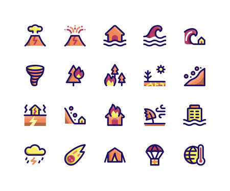 Simple Set of Disaster Related Vector Filled Line Icons. Contains such Icons as volcano, eruption, flood, wave, tsunami and More. pixel perfect vector icons based on 32px grid. Well Organized and Layered. Stock Illustratie
