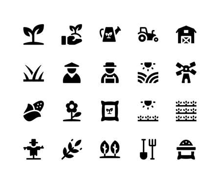 Simple Set of Agriculture Related Vector Glyph Icons. Contains such Icons as plant, farm, barn, sack, scarecrow and More. pixel perfect vector icons based on 32px grid. Well Organized and Layered