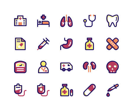 Simple Set of Medical Related Vector Filled Line Icons. Contains such Icons as hospital, medical, lungs, doctor, teeth and More. pixel perfect vector icons based on 32px grid. Editable Strokes
