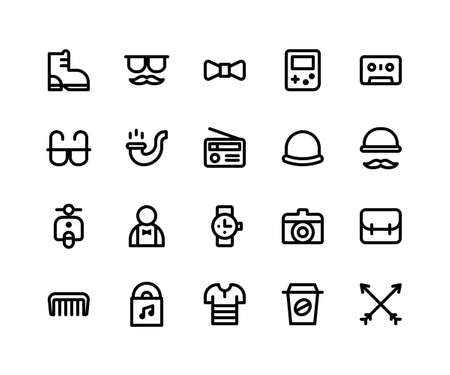Simple Set of Hipster Related Vector Line Icons. Contains such Icons as boot, mustache, bow, game, tape and More. pixel perfect vector icons based on 32px grid. Well Organized and Layered. Illustration