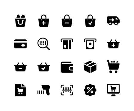 Simple Set of E Commerce Related Vector Glyph Icons. Contains such Icons as shopping bag, discount, store, label and More. pixel perfect vector icons based on 32px grid. Well Organized and Layered