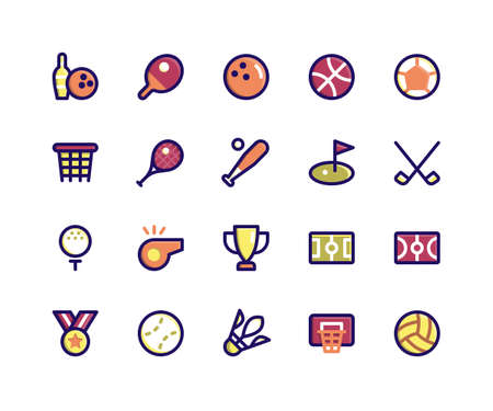 Simple Set of Sport Related Vector Filled Line Icons. Contains such Icons as bowling, tennis, basketball, soccer, baseball and More. pixel perfect vector icons based on 32px grid. Editable Strokes.