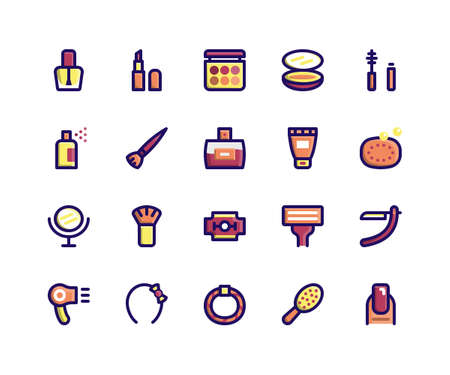 Simple Set of Beauty Related Vector Filled Line Icons. Contains such Icons as Nail Polish, Lipstick, Make Up, Compact, Mascara and more. pixel perfect vector icons based on 32px grid. Well Organized and Layered. Illustration