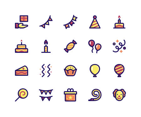 Simple Set of Camping Related Vector Filled Line Icons. Contains such Icons as gift, bunting, party, birthday, decoration and More. pixel perfect vector icons based on 32px grid. Well Organized and Layered. Illustration