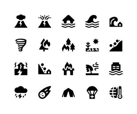 Simple Set of Disaster Related Vector Glyph Icons. Contains such Icons as volcano, eruption, flood, wave, tsunami and More. pixel perfect vector icons based on 32px grid. Well Organized and Layered.