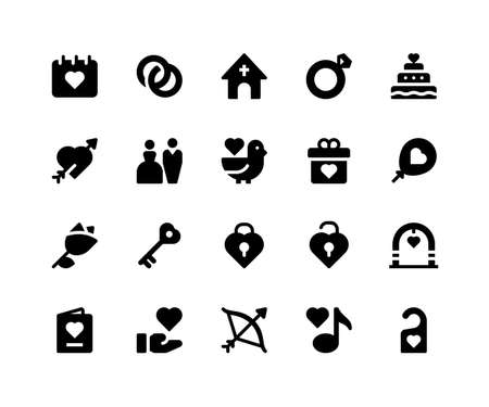 Simple Set of Wedding Related Vector Glyph Icons. Contains such Icons as date, ring, church, cake, arch and More. pixel perfect vector icons based on 32px grid. Well Organized and Layered.